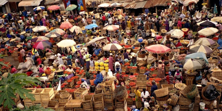 Aerial shot of a busy market