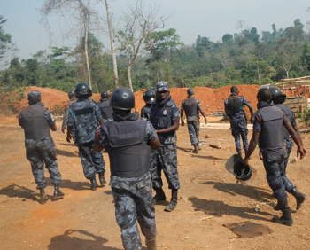 Some of the recently-deployed police personnel to galamsey areas