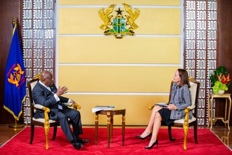 President Nana Akufo-Addo with the French Ambassador Anne Sophie Ave