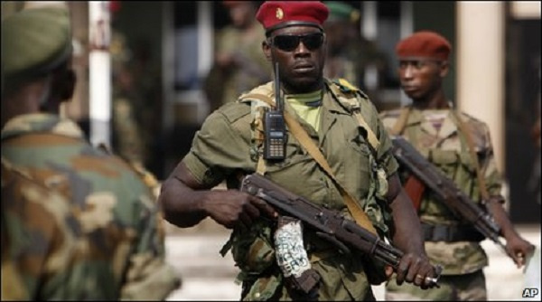 Some Guinea military leaders wielding arms