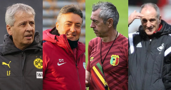 The four coaches are Favre (far left), Torrent (second from left), Giresse, Guidolin(far right)